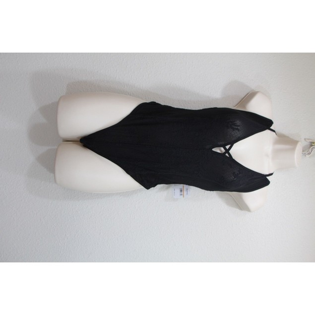 Free People Women's Kisses On My Cheeks Bodysuit Black SIZE SMALL