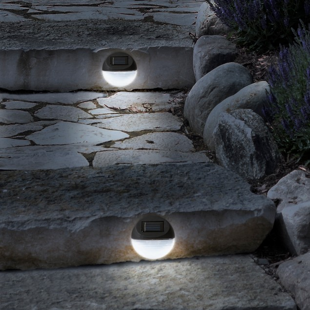 4-Pack Pure Garden Round Solar LED Lights
