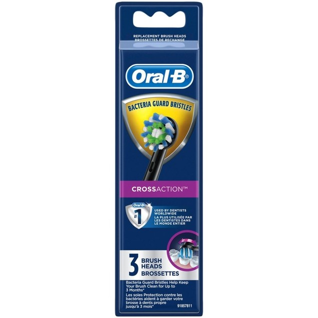 Oral-B CrossAction Toothbrush Replacement Brush Head Refills, 3 Ct, Black