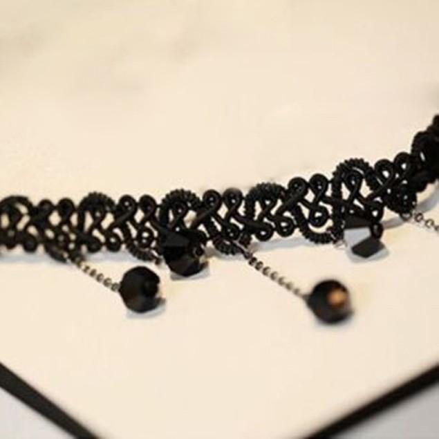 Women Black Beads Tassel Pendant Necklace
