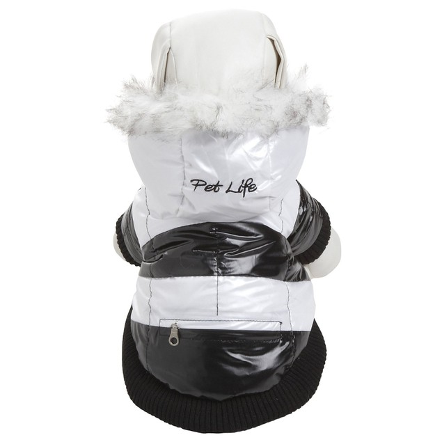 Fashion Striped Ultra-Plush Dog Parka w/ Removable Hood