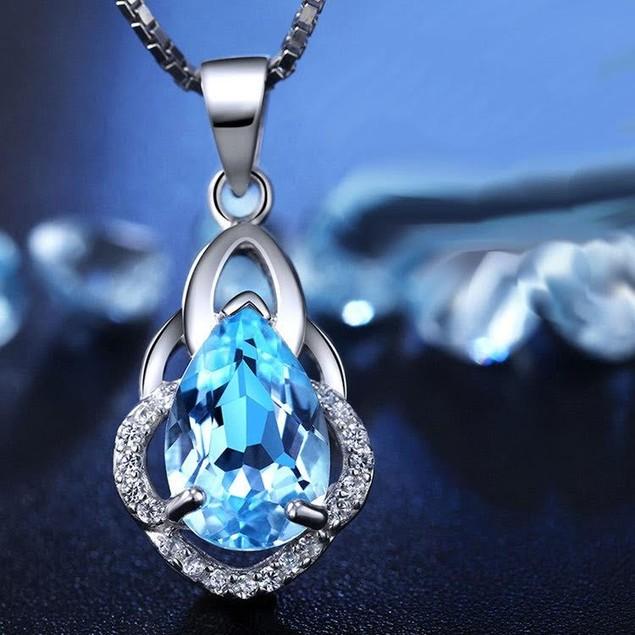 Triple Loop Blue Tear Necklace