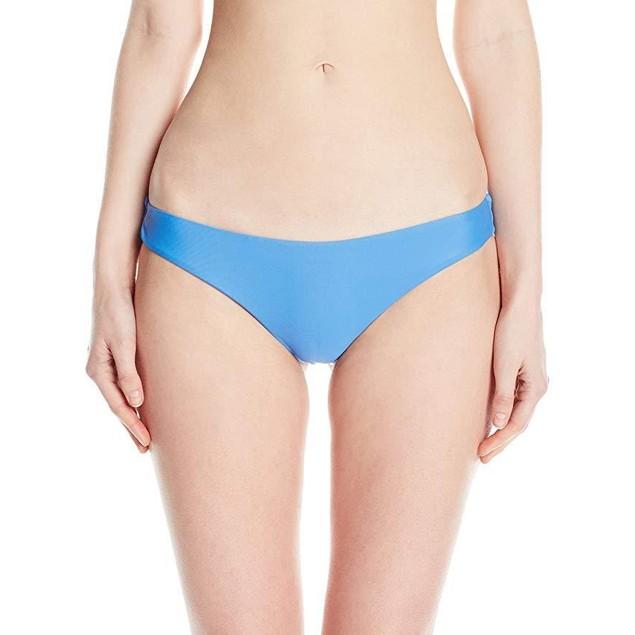 RVCA Women's Solid Low-Rise Cheeky Swimsuit Bikini Bottom, Cerulean, M