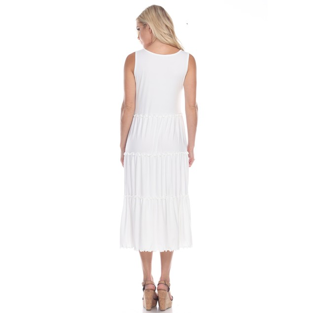 Scoop Neck Tiered Midi Dress - 5 Colors - Extended Sizes