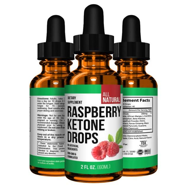 Raspberry Keto Ketones Drops Fat Burner with African Mango Garcinia Extract