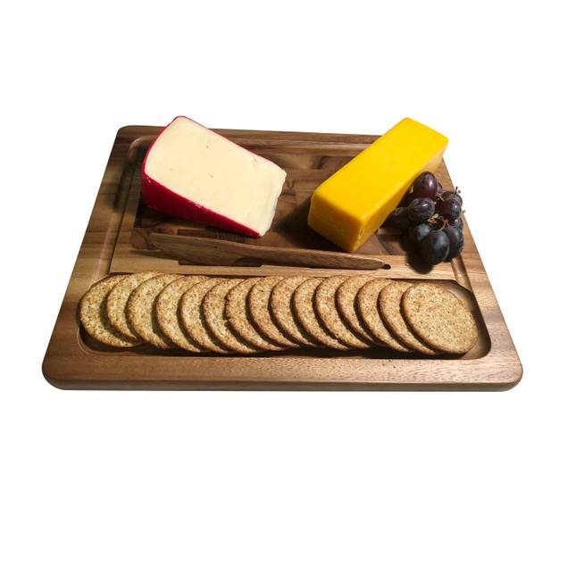 Acacia Wood Cheeseboard with Knife