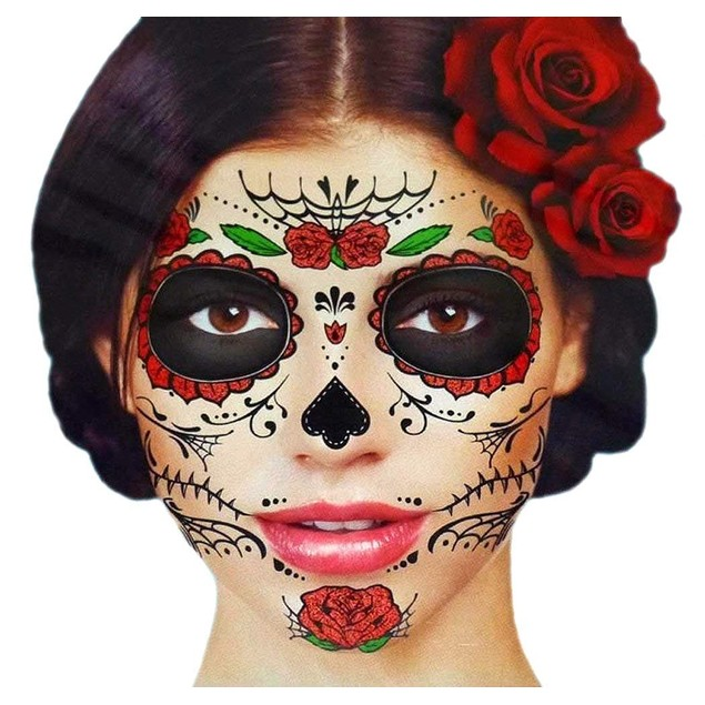 Glitter Red Roses Day of the Dead Sugar Skull Temporary Face Tattoo