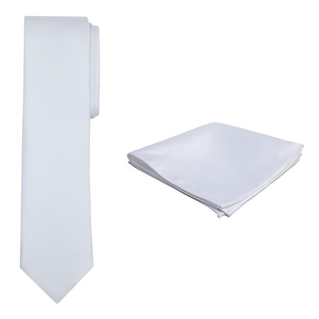 Jacob Alexander Solid Color Men's Slim Tie and Hanky Set