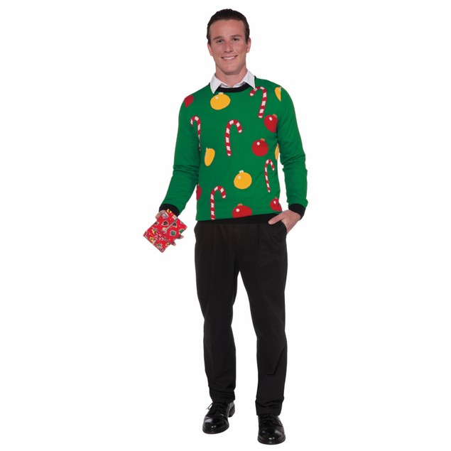 Ornaments And Candy Canes Ugly Christmas Sweater Tacky Holiday Sweatshirt