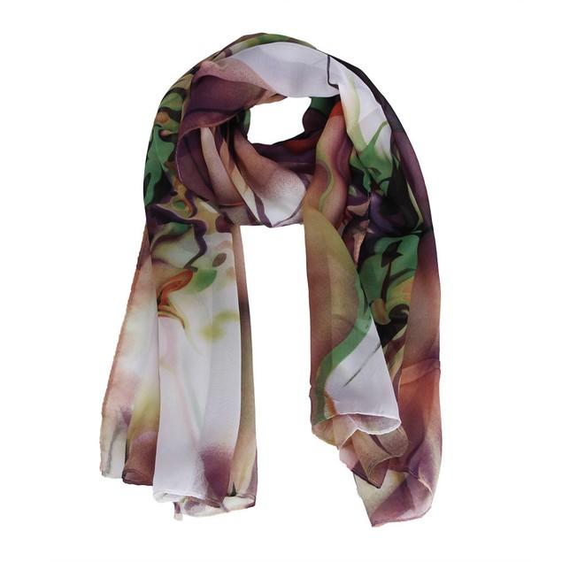Long Watercolor Floral Chiffon Scarf - 2 Colors