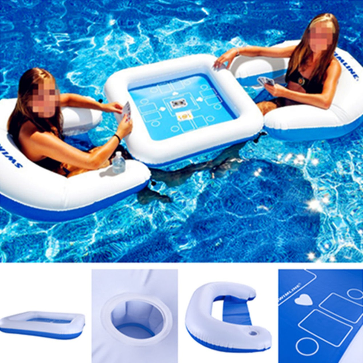 Game On The Water Pool Inflatable Poker Mahjong Table