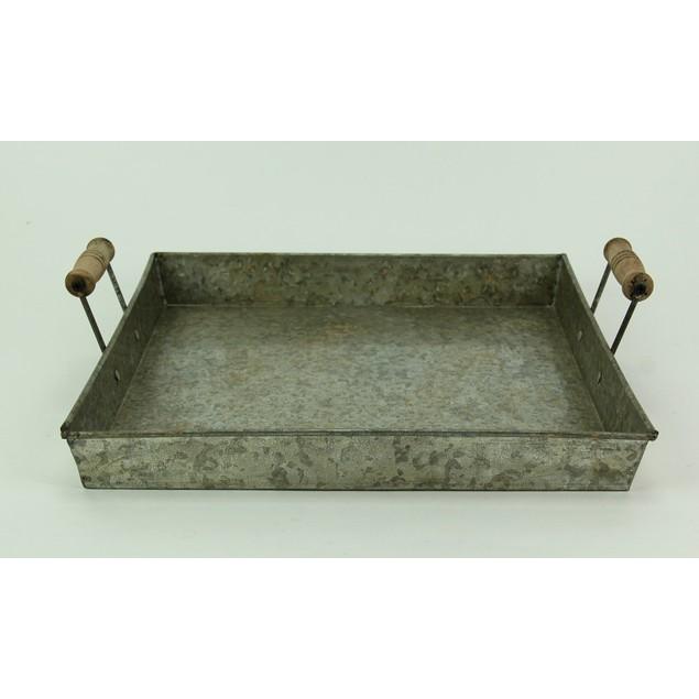 Galvanized Metal Wood Handled Classic Farmhouse Decorative Trays