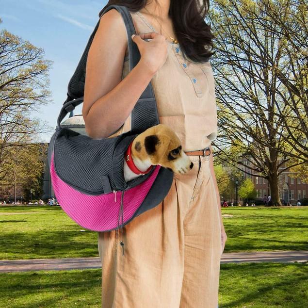 Zone Tech Pet Shoulder Bag Sling Knapsack Carrier Travelling Tote Mesh