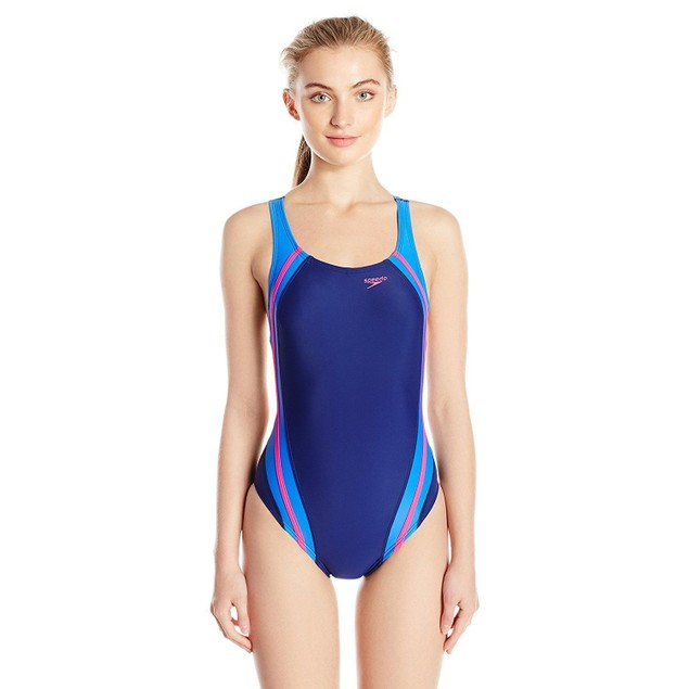 Speedo Women's Quantum Splice Power flex Eco One Piece Swimsuit SZ 4