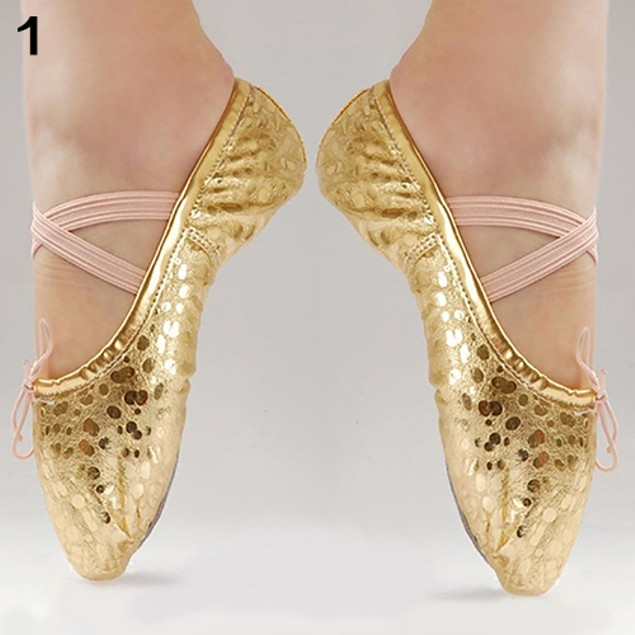 Girl Little Princess Shining Faux Leather Ballet Gymnastics Dance Shoes