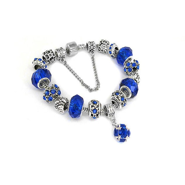 Blue Crystal Bracelet with Austrian Crystal and Ball Charm
