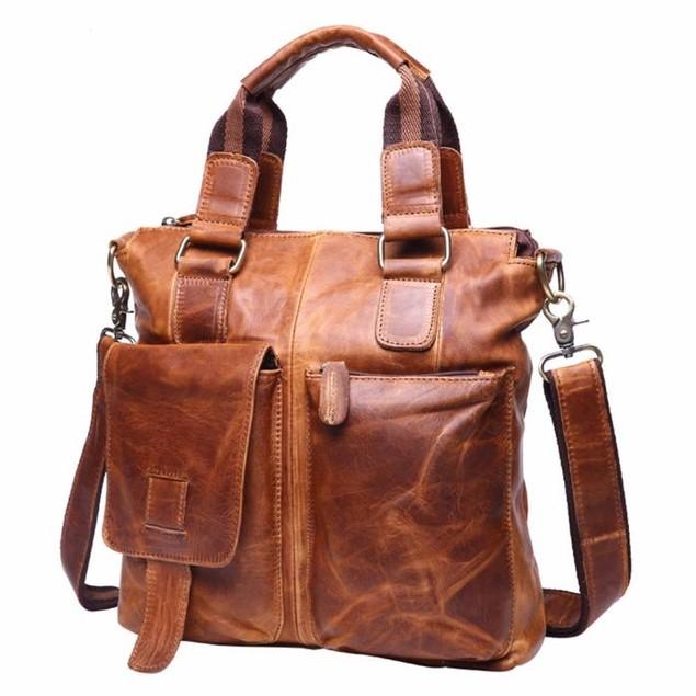 Vintage Buffalo Leather Messenger Satchel Laptop Briefcase Men's Bag Crazy