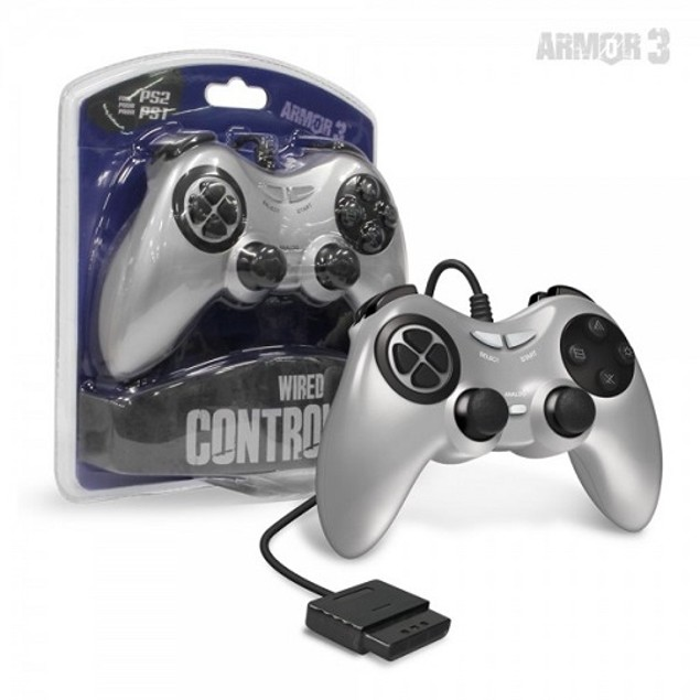 PS2 Wired Game Controller (Silver) - Armor3