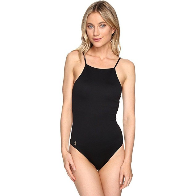 Polo Ralph Lauren Womens Safari Solids High Neck Laced Back One-Piece