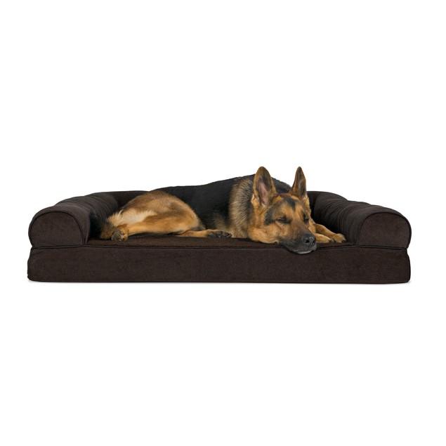 FurHaven Faux Fleece & Chenille Soft Woven Orthopedic Sofa Pet Bed