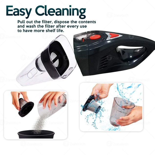 Zone Tech Portable 12V Dust Handheld Vacuum Dirt Cleaner Wet & Dry 5 Nozzle