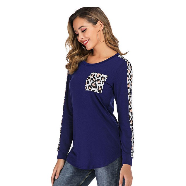 Long Sleeve with Leopard Trim and Pocket