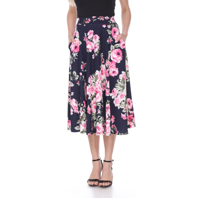 Flared Floral Print Midi Skirt - 11 Colors