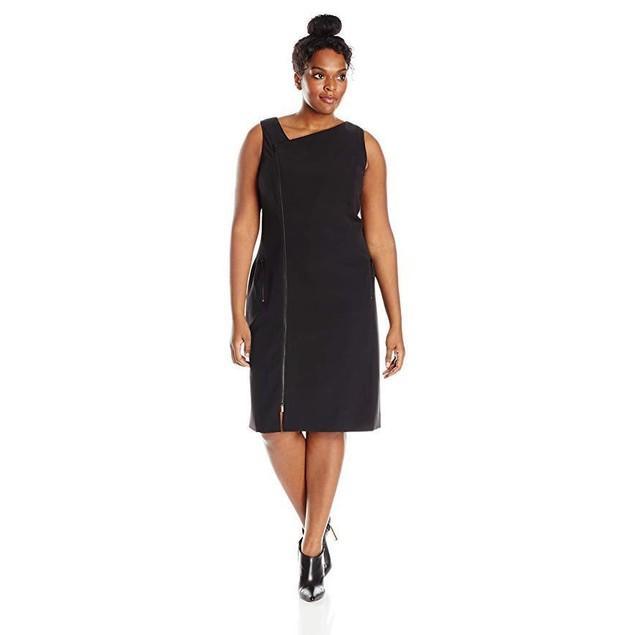 MYNT 1792 Women's Plus-Size Moto Sleeveless Dress, Black, 22W