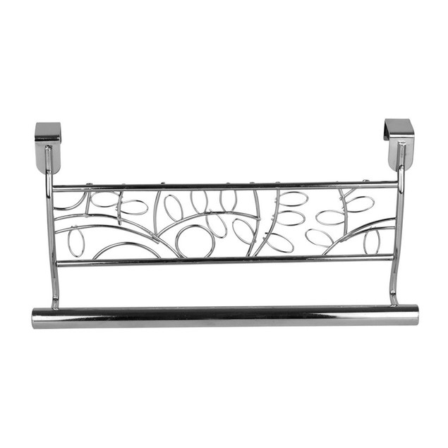 "Set of 2 Over Cabinet Door Dish Towel Bar Holders, 9""Black Leaf Design"
