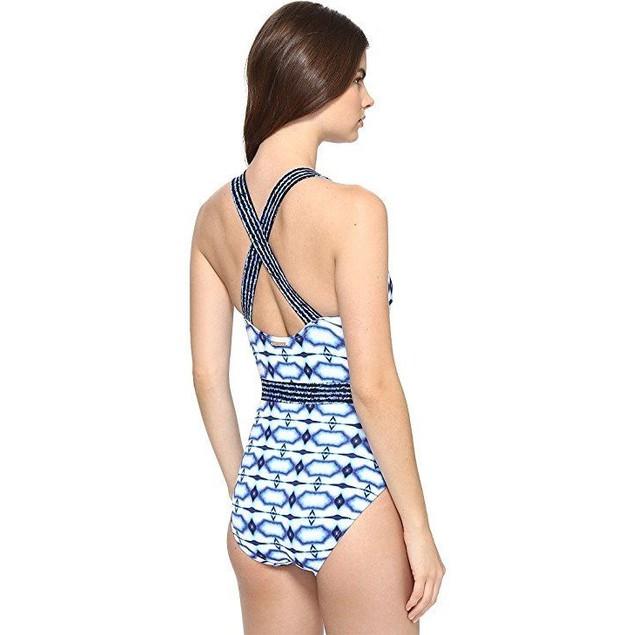Michael Kors Women's One Piece X-Back Tank Swimsuit New Navy SZ: 12