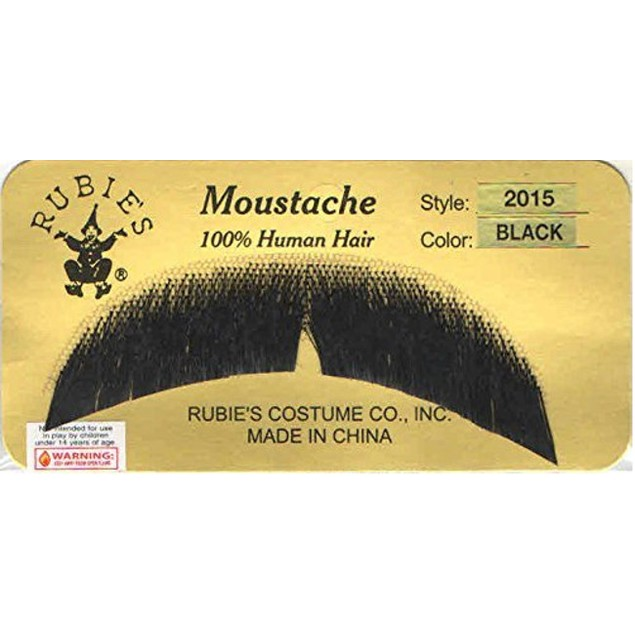 Black Basic Character Moustache 100% Human Hair Costume Accessory Adult