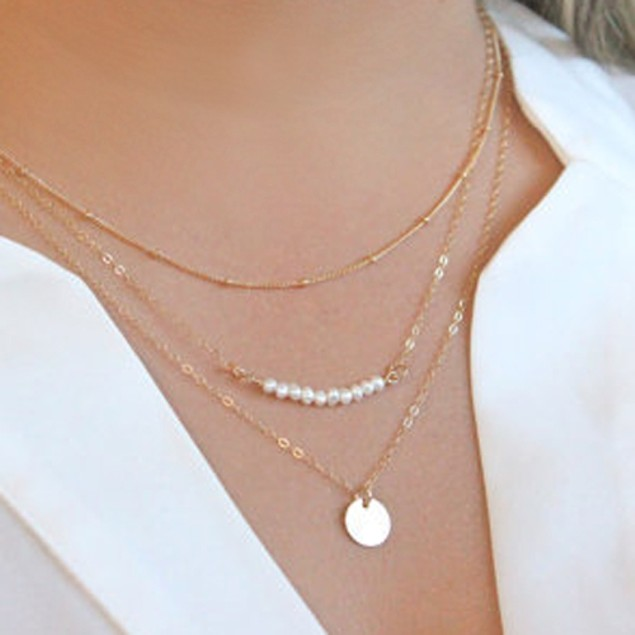 Stylish Faux Pearls Layer Pendant Necklace