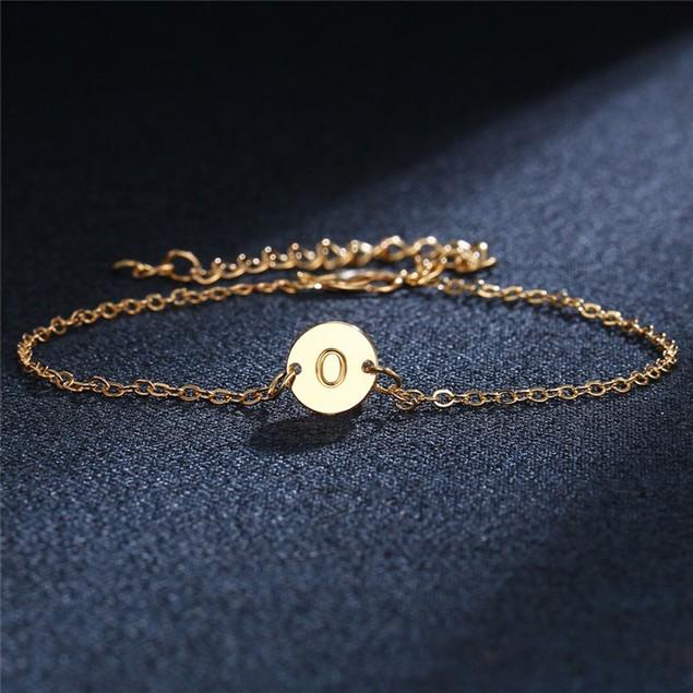 18kt Gold Plated Initial Disc Bracelet or Anklet