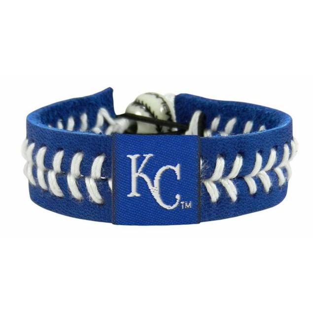 Kansas City Royals Team Color Baseball Bracelet MLB KCR Leather Stitch