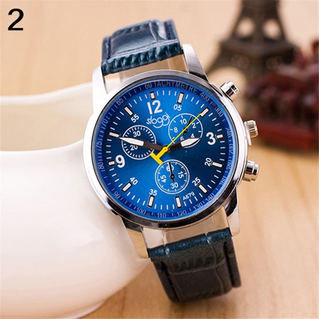 Men Fashion Faux Leather Strap Round Dial Analog Quartz Wrist Watch