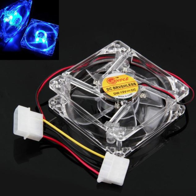 Blue Quad 4-LED Light Neon Clear 80mm PC Computer Case Cooling Fan Mod