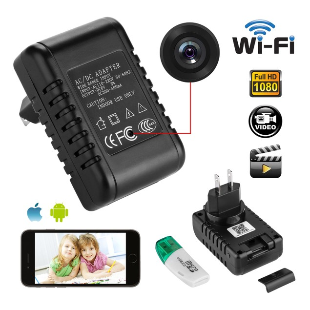 HD 1080P WIFI Mini SPY Motion Hidden Wall Charger IP Camera US Adapter Plug