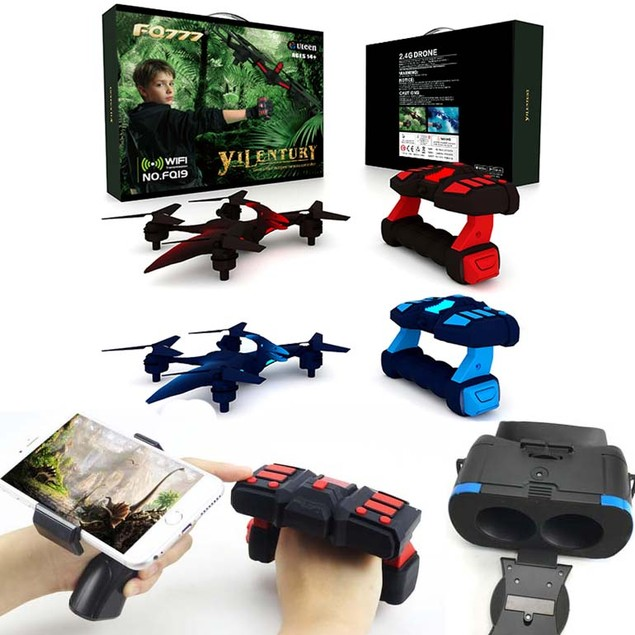 Dino Drone Altitude Hold,Hand Gesture Controller,FPV Cam & VR Headset Incl.
