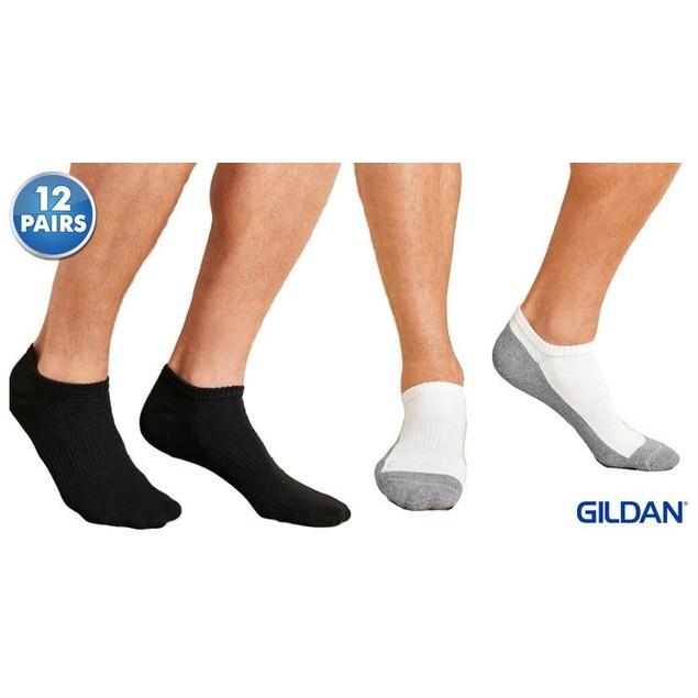 12 Pairs Gildan Men's Cushion No Show Socks