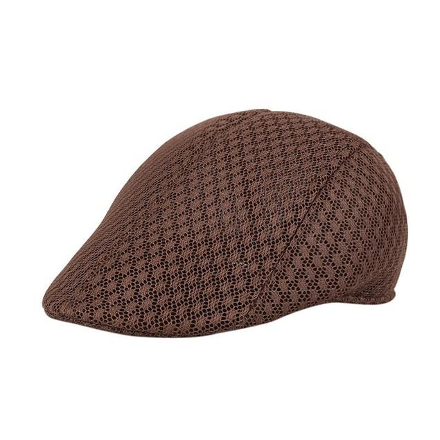 Men Breathable Mesh Newsboy Hats Casual Beret Caps  a