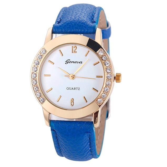 Geneva Women Diamond Analog Leather Quartz Wrist Watch Watches