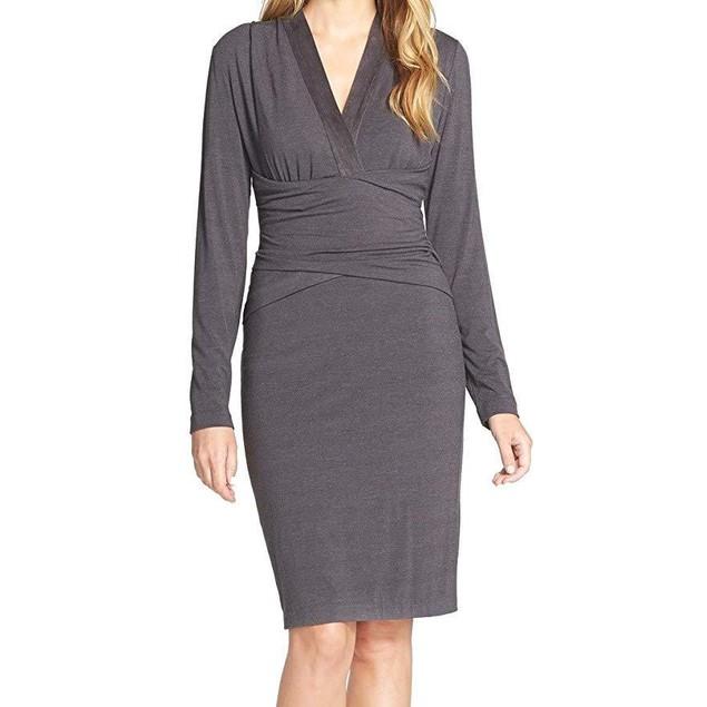 NYDJ Women's Nicole Wrap Dress Charcoal Grey Dress 2