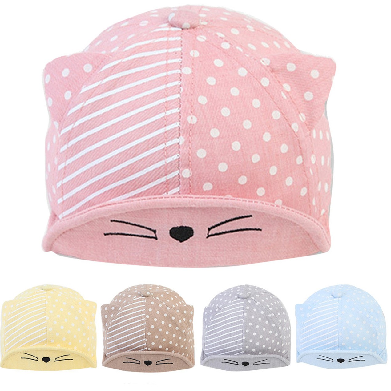 8547a1319 Child Kid Baby Cats Striped Soft Brim Flanging Sun Hat Baseball ...