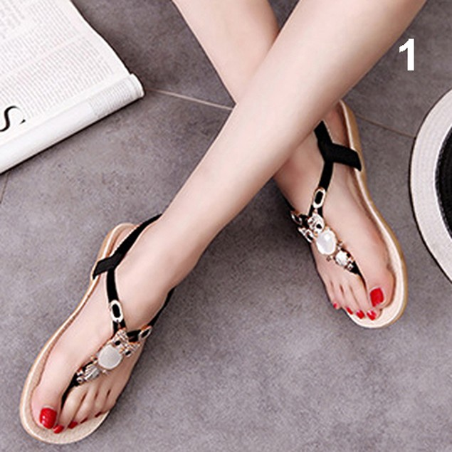 Summer Roman Style Rhinestone Flat Flip Flops Sandals Shoes