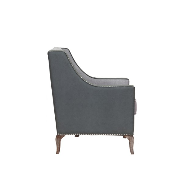 Chic Home Jayden Mixed Material Linen Leatherette Nailhead Accent Chair