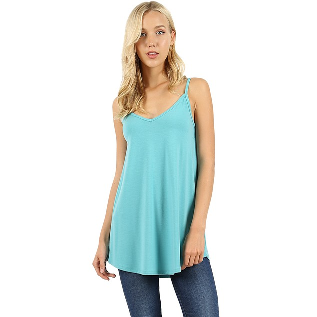 Front and Back Reversible Neckline Two Way Cami Tank