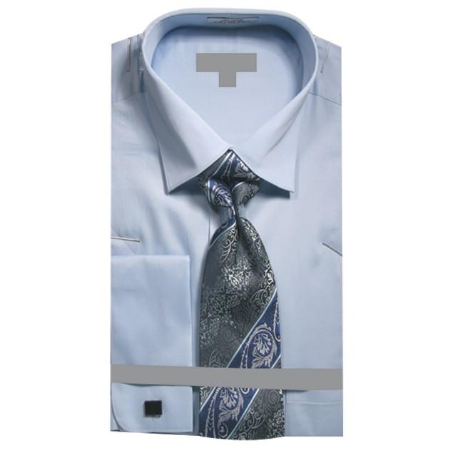 Men's Solid French Cuff Dress Shirt w Tie Hanky Cufflinks