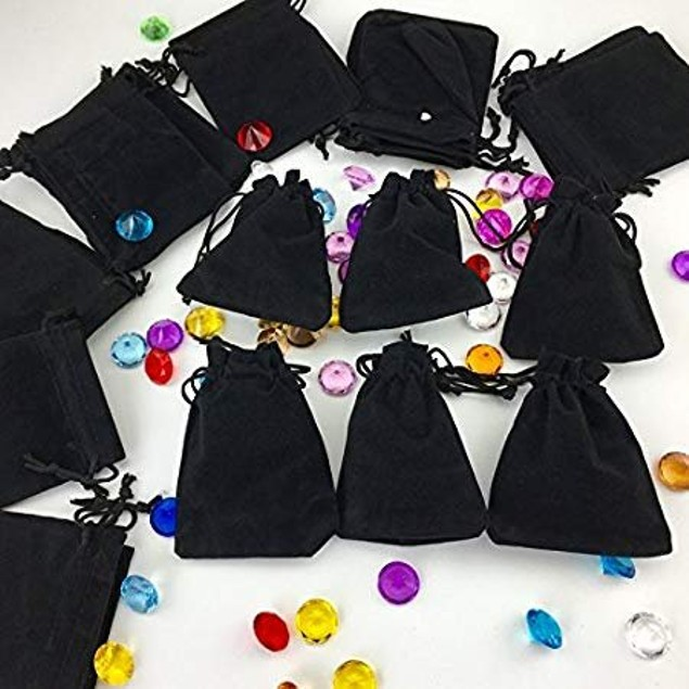 Small Black Velvet Jewelry Drawstring Gift Pouches Bags Wedding Favors