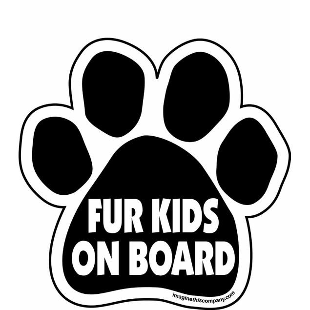 "Fur Kids on Board Paw Magnet Dog Cat 5.5"" x 5.5"" Shaped Black Car Auto Gift"