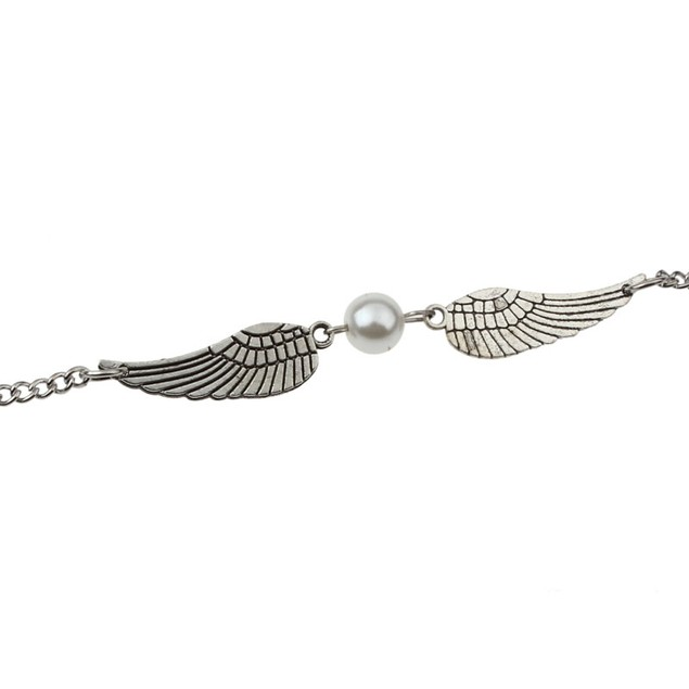 Silver Infinity Retro Pearl Angel Wings Jewelry Dove Peace Bracelet